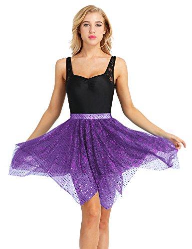 iiniim Damen Rock Asymmetrisch Tüllrock Glänzend Polka Dots Latein Tanzrock Unterrock Tanzbekleidung Lila Einheitsgröße
