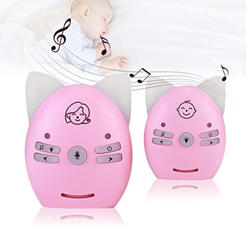 Monitor de bebé con audio de 2,4 GHz, monitor de bebé digital inalámbrico, walkie talkie de luz nocturna pequeña con voz de 2 vías, para bebés/ancianos(EU-Rosa1)