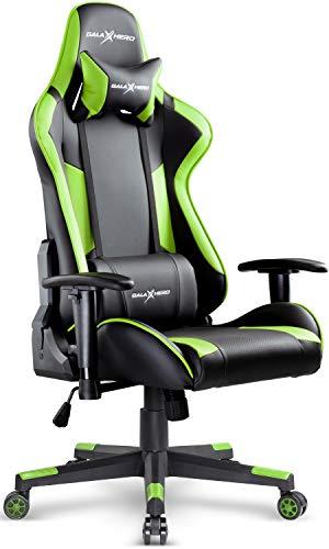 GALAXHERO ゲーミングチェア オフィスチェア 多機能 通気性がいい座面 ゲーム用チェア 事務椅子 パソコンチェア リクライニング ハイバック ヘッドレスト 腰にやさしいランバーサポート 2Dひじ掛け PUレザー MF0039D