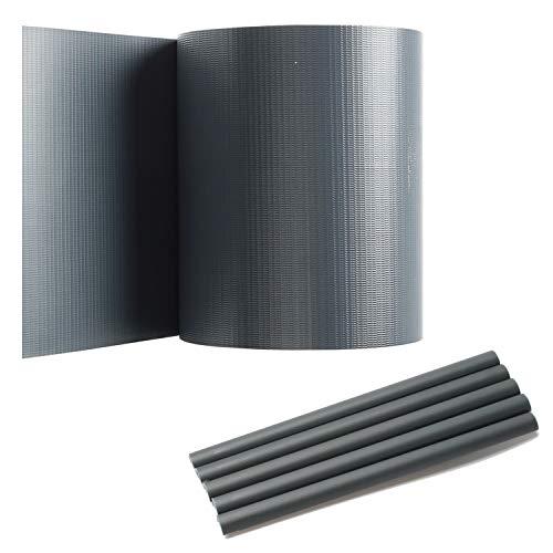 Hengda Sichtschutzstreifen für Doppelstabmatten, Anthrazit, 70 m x 19 cm mit 60 Clips, PVC Sichtschutzfolie für Zaun, Gartenzaun, Doppelstabmattenzaun, Sichtschutz, Beidseitiger Druck