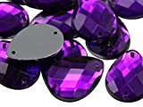 18x13mm Purple Amethyst CH05 Teardrop Flat Back Sew On Beads for Crafts Plastic Acrylic Rhinestones with Holes for Sewing, Clothing Embelishments, Costume Cosplays - 50 Pieces