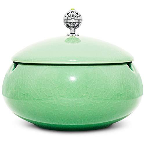 ONEDERZ Aschenbecher für draußen mit Deckel, Keramik Windaschenbecher Geruchsdicht Sturmaschenbecher für Couchtisch Klein Dekoration Wohnung Schlafzimmer Balkon (Grün)