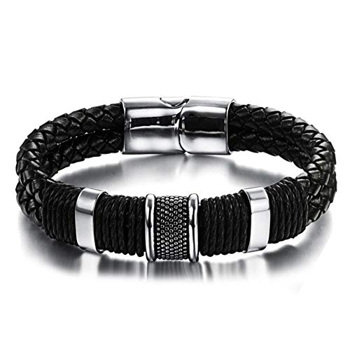 CNNIK Men's Genuine Leather Titanium Bracelet Black 8.66'(22cm) Box Magnetic Buckle Braided Bracelet for...