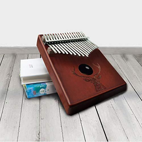 Kalimba Daumenklavier Instrument,17 Schlüssel,Stimmhammer für Musikliebhaber Anfänger,Mit Musikbuch,Daumen Schutz,Stimmhammer(Braun)