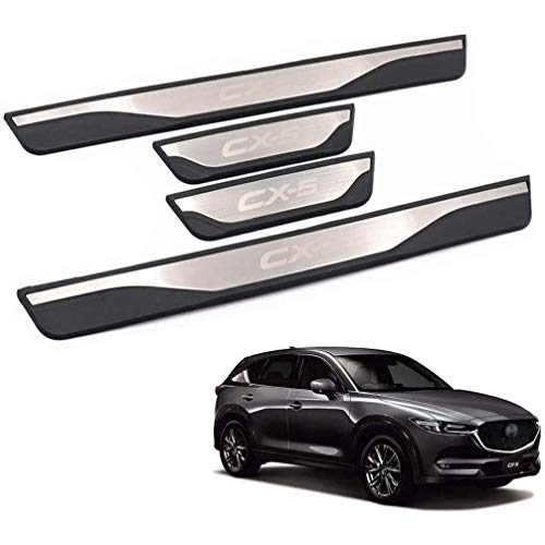 ASDDD 4Pcs Auto Äußere Schutz Einstiegsleisten Türschweller, für Mazda Cx-5 Cx5 Cx 5 2012-2016 Protector Door Sill Kick Plates, Edelstahl Rutschfestes Anti-Kratz Außentürschwellen Sticker Zubehör