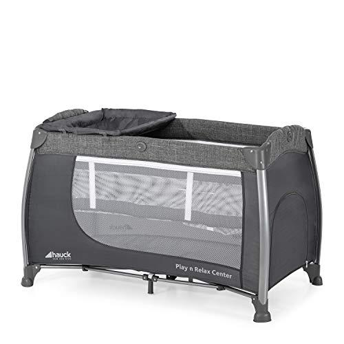 Hauck Play'n Relax Center Reisebett, 7-teiliges, ab Geburt bis 15 kg, faltbar und kippsicher, mit Neugeborenen Einhang, Wickelauflage, seitlicher Ausstieg, Netztasche, Räder, Transporttasche, grau
