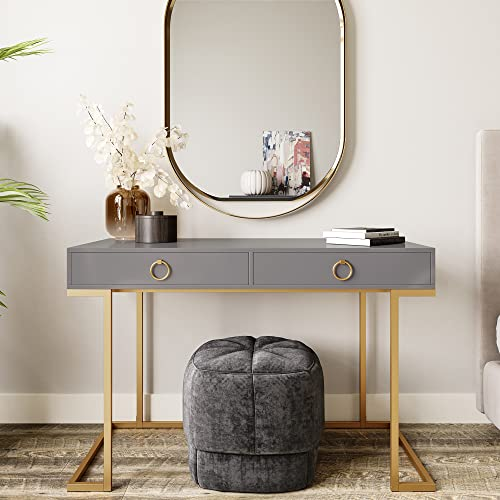 BELLEZE Modern Makeup Vanity Dressing Table or Home Office Computer Laptop Writing Desk with Two Storage Drawers, Wood Top, and Gold Metal Frame - Chelsea (Gray)