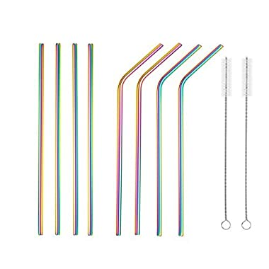 JOYECO Stainless Steel Drinking Straws, Rainbow Multi-Colored Straw, Reusable Drink Straw for 20oz Tumblers Rumblers Cold Beverage (Set of 8,4 Bent+4 Straight + 2Brushes)