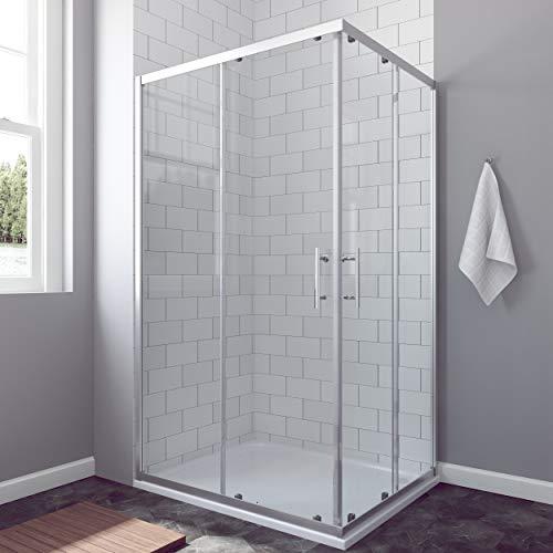 AQUABATOS® 110x90 cm Duschkabine Eckeinstieg Schiebetür Duschabtrennung Duschwand Glas ESG nach DIN EN 12150 Höhe 185cm