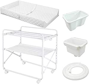 H yina White Changing Tables for Small Spaces and Bathroom  Folding Adjustable Nursery Dressers with Storage  85x50x110cm