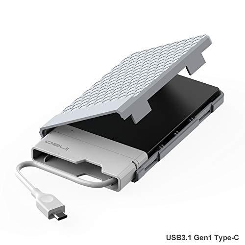 USB 3.1 Gen1 Tipo C Case Esterno per Disco Rigido 2.5' - ElecGear USB-C 2.5-pollici SATA SSD e HDD Hard Drive Enclosure Custodia, supporta UASP, senza attrezzi, cavo integrato