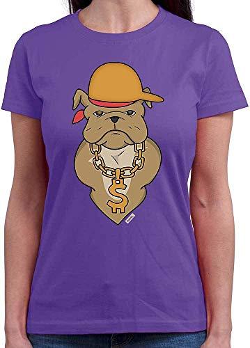 HARIZ Damen T-Shirt Rundhals Bulldodge Rapper Hund Herrchen Plus Geschenkkarte Lila M
