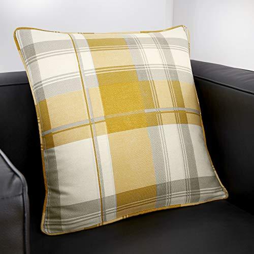 Fusion - Balmoral Check - 100% Cotton Cushion Cover - 43x43 cm in Ochre
