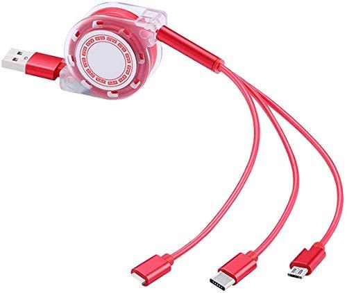 Aishtec 3 en 1 Cable USB Carga Retráctil, Multi Cargador Universal Carga...