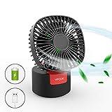 VPCOK Ventilator leise, Tischventilator Lüfter mit 60° automatische Drehung, kraftvoller und geräuscharmer Turbo-Ventilator mit 3 Geschwindigkeitsstufen, Tragbarer Wiederaufladbarer USB Fan (WEHRWEG)