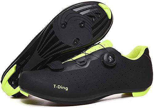 KUXUAN Zapatillas de Ciclismo para Hombre,Cordón de Zapatos Giratorio con Zapatilla Peloton de Cala Compatible con SPD y Delta para Hombre, Zapatillas de Bicicleta con Pedal,Black-41EU