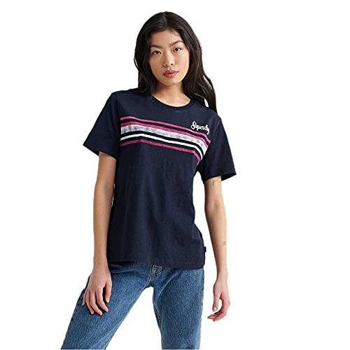 Superdry Damen Retro Stripe Tee T-Shirt, Blau (Deep Navy JKE), M