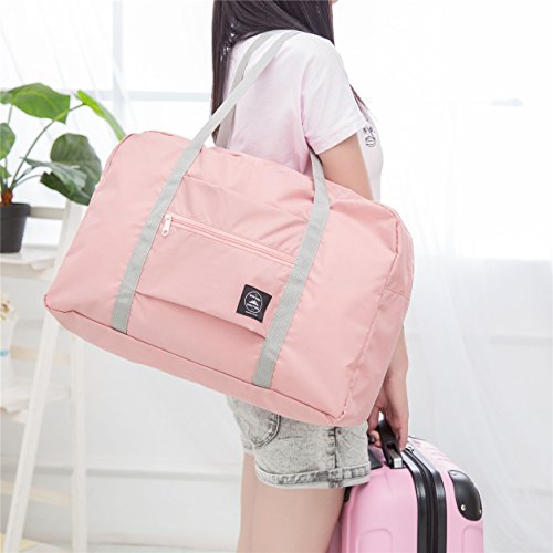 Axgo Folding Travel Duffel Bag Packable Light Nylon Water Resistant Tote Weekend Getaway Overnight Carry-on Shoulder, Pink