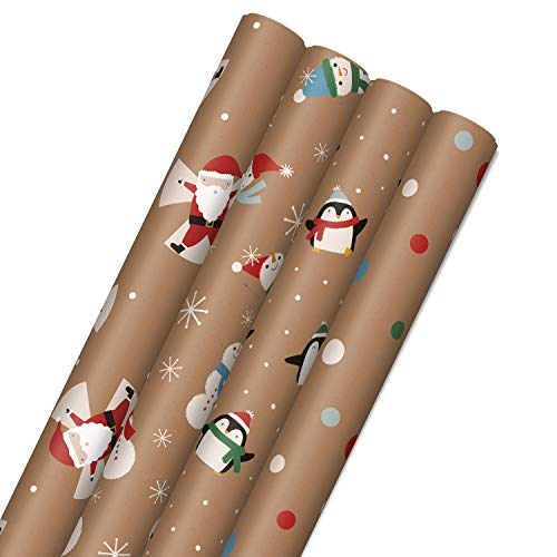 Hallmark Kraft Christmas Wrapping Paper for Kids with Cut Lines on Reverse (4 Rolls: 88 sq. ft. ttl) Penguins, Santa, Snowmen, Polka Dots