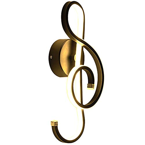 22W LED Dimmbare Wandleuchte Postmoderne Musik Symbol Symbol Wandleuchte, Wandbeleuchtung, Kreative Einfache Acryl Wandleuchten, Für Schlafzimmer Schlafzimmer Wohnzimmer,Schwarz,warm White
