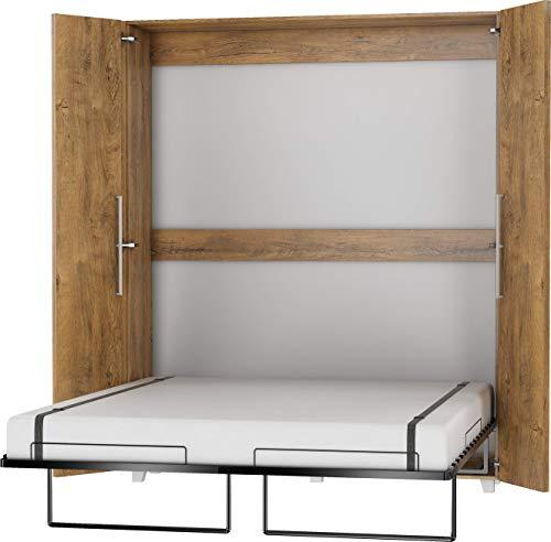 FurnitureByJDM Schrankbett Vertikal, Wandklappbett, Bettschrank, Wandbett, Schrank mit integriertem Klappbett, Funktionsbett - TEDDY - (Eiche Burgunderrot, 160 x 200 cm)
