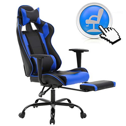 PC Gaming Chair Ergonomic Office Chair Desk Chair with Lumbar Support Arms Headrest Modern Rolling Swivel Computer Chair for Back Pain Women Men Adults,Blue chair footrest gaming