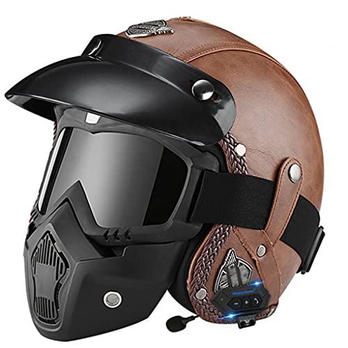 BYBYGXQ Casco Bluetooth Motocicleta Vintage Certificado ECE, para Hombres y Mujeres Cascos Cuero Motocicletas Cara Abierta, Adultos Retro Calle Medio Casco, Estilo Jet Gorra Béisbol Casco Scoo