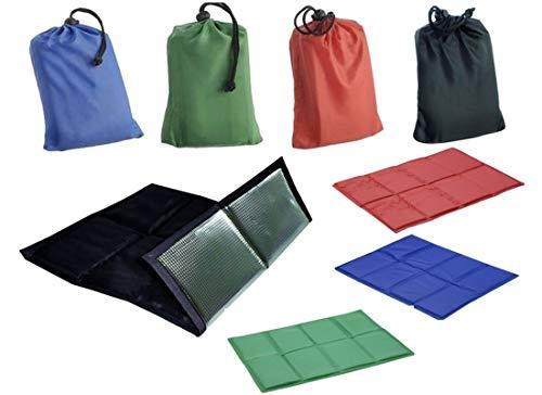 Comfort Sitzkissen, Stadionkissen mit Zuzieh-Beutel, 4 tolle Farben zur Auswahl, groß, gepolstert, mehrfach faltbar, isoliert, leicht, tragbar mit kleinem Beutel (4X Schwarz)