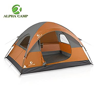 ALPHA CAMP Dome Tent 3 Person Dome Camping Tent with Carry Bag - 8' x 7' Orange