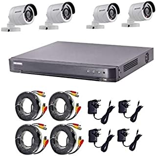Hikvision Turbo HD 2 megapixel 1080P   4 outdoor Cameras with 4 Channel DVR 4 Adaptors and Cables