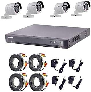كاميرات هايكفيجين تيربو اتش دي 2 ميجا بكسل 1080 بي 4 كاميرات خارجية مع 4 قنوات دي في ار و4 محولات وكابلات