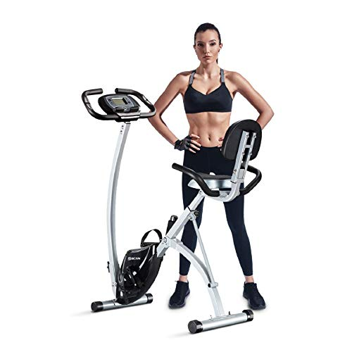 BCAN Folding Exercise Bike, Magnetic Upright Bicycle with Heart Rate, Speed, Time, Distance, Calorie Monitor, 330LBS Support - Grey/Black 2019 Version