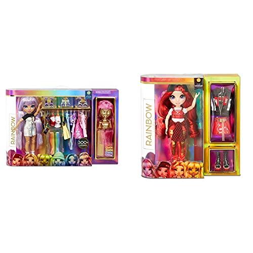 Rainbow High Surprise Fashion Studio Muñeca Exclusiva con Ropa, Accesorios Y 2 Pelucas Brillantes + Muñeca De Moda Ruby Anderson Muñeca En Rojo con Conjuntos Elegantes