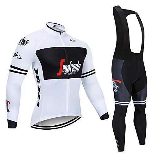 MTBHW Herren Fahrradbekleidung Langarm Radtrikot Set Outdoor Radsport Gemütlich Radkleidung Trikot Jersey + Lange Radlerhose im Herbst