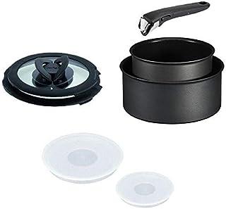 Tefal Ingenio Antiadherente Inducción Rendimiento Cazo Juego, 7 Piezas, Negro 16cm y 20cm Cacerolas con Tapas