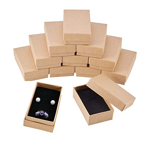 BENECREAT 24 Pack Halskette Ring Box 8x5x3cm Kraft Brown Rechteck Karton Schmuckschatullen Kleine Geschenkbox für Hochzeit Party