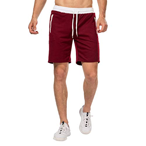 CHYU Herren Sport Joggen und Training Shorts Fitness Kurze Hose Jogging Hose Bermuda Reißverschlusstasch (Red, M)
