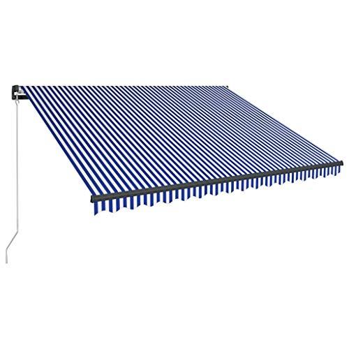 UnfadeMemory Einziehbare Markise mit Solar LED-Beleuchtung Handbetrieben Balkonmarkise Sonnenschutz Markisen Manuell Außenmarkise mit Handkurbel Aluminiumrahmen + Stoff (400x300 cm Blau und Weiß)