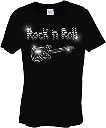 Camiseta infantil de Rock and Roll con guitarra, diseño de danza de diamantes de imitación para niños, de 3 a 15 años