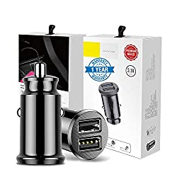 HSR Car Charger, 3.1A Adapter Dual USB Port Fast Mini Flush Fit Compatible with All Phone and All Car,HSR Retail