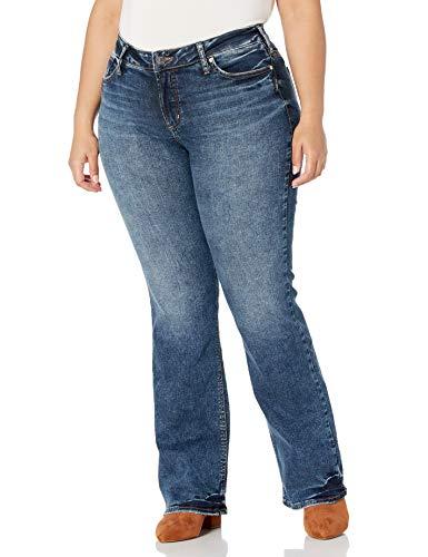 Silver Jeans Co. Women's Plus Size Elyse Curvy Mid Rise Slim Fit Bootcut Jean, Dark Indigo Shade, 16W X 31L