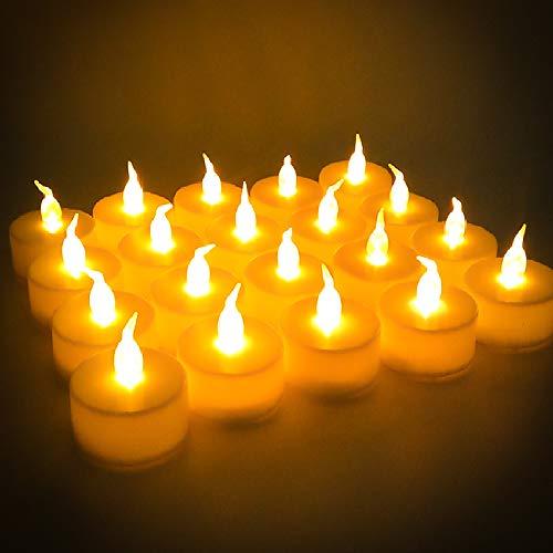 LED Kerzen, 24 Stück LED Flammenlose Tealights, Flackern Teelichter, elektrische Kerze Lichter Batterie Dekoration für Weihnachten, Weihnachtsbaum, Ostern, Hochzeit, Party