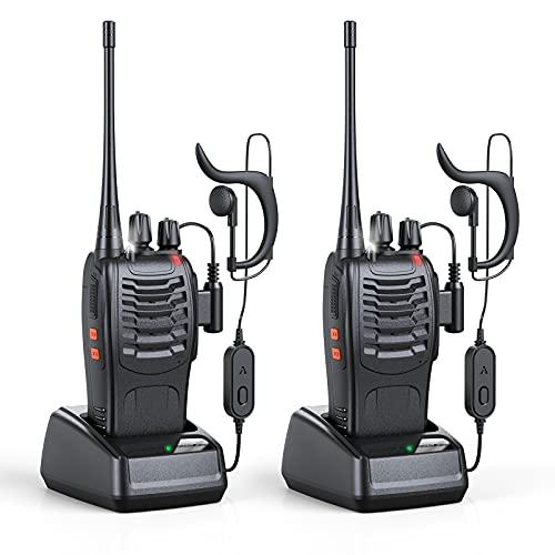 Radio bidireccional portátil Walkie Talkie Recargable con 16 Canales 1500mah CTCSS DCS 6KM, Walkie Talkie UHF con antorcha LED incorporada para Auriculares (2 PCS)