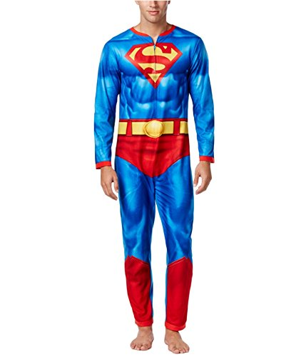 Briefly Stated Mens Superman Jumpsuit One Piece Pajamas With Cape (Large)