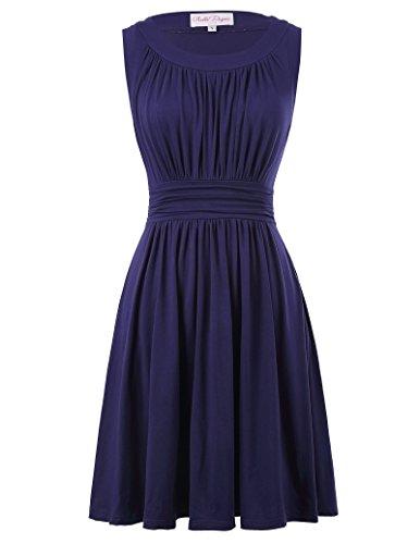 Belle Poque Sleeveless Dress for Women Knee Length Size XL Navy Blue BP289-3