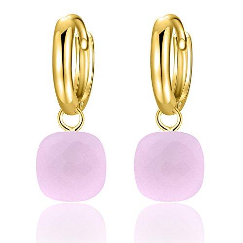 Metjakt, classici orecchini pendenti in argento sterling 925 massiccio, orecchini per donne, gioielli raffinati (Dark pink, Argento Sterling placcato oro giallo)