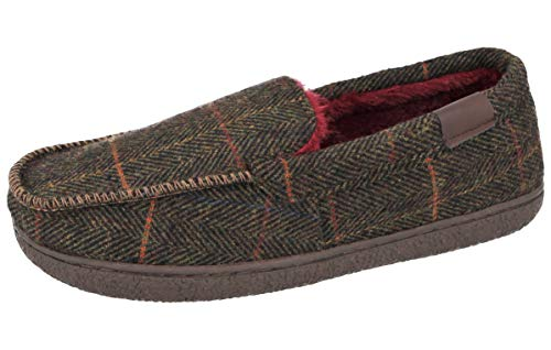 Cushion Walk Mens Herringbone Tweed Faux Fur Lined Slip On Mules Moccasin Slippers Size 7-12 (Green Moc, Numeric_11)