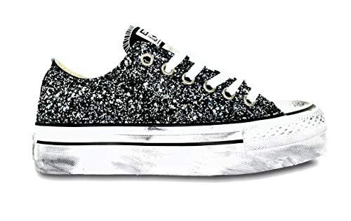 Converse All Star Platform Glitter Nero Ox Vintage [Tutte Le Taglie]