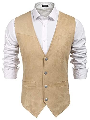 COOFANDY Men's Suede Leather Suit Vest Casual Western Vest Jacket Slim Fit Vest Waistcoat (L, Light Brown-)
