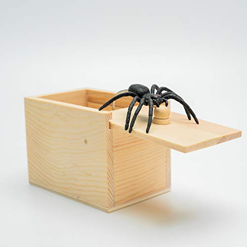 AHZI Handcrafted Solid Wood Surprise Box,Rubber Spider Prank Surprise Box,Fun Practical Surprise Joke Boxes,Two
